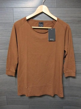 □ZARA/ザラ 切り放し加工 7分袖 Tシャツ/メンズ・M/ブラウン☆新品