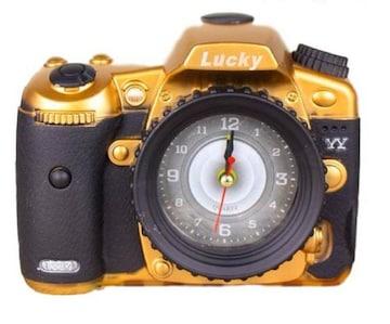 カメラ 風 目覚まし時計 ゴールド