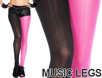 A411)MusicLegs配色オペークタイツホットピンク黒ストッキングダンスステージ衣装派手