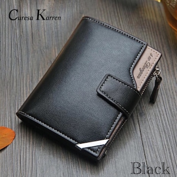 財布 二つ折り財布 レザー 札入れ 小銭入れ カード入れ 黒