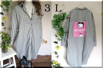 大きいサイズ☆3Lグリーン系チェック☆後ろベティちゃん☆ロングシャツチュニック