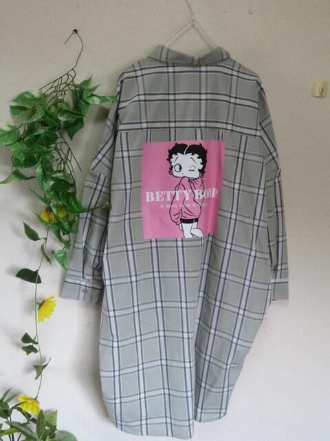 大きいサイズ☆3Lグリーン系チェック☆後ろベティちゃん☆ロングシャツチュニック < 女性ファッションの