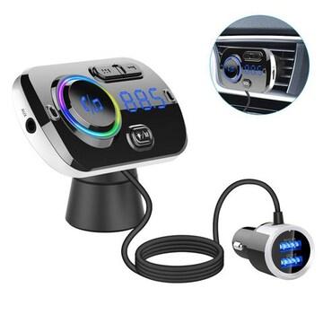 FMトランスミッター Bluetooth 5.0 QC3.0急速充電2USBポート