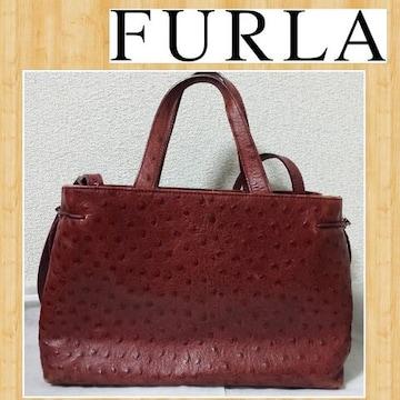 購入5万 FURLA フルラ オーストリッチ ショルダーバッグ 本革 イタリア製 レザー ハンド
