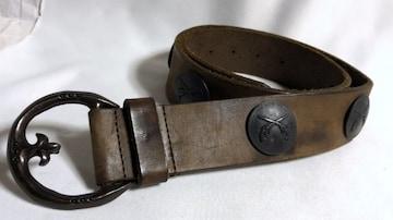 正規 ロアーroar アンカーバックル×2丁拳銃ロゴコンチョ装飾ベルト 茶×クロームブラック