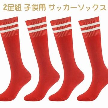 2足組 子供用 サッカーソックス スポーツ レッド //bz0