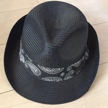 カッコイイ中折れ帽☆ハット☆麦わら帽子☆黒☆ブラック☆