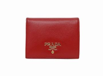 プラダ SAFFIANO METAL サフィアーノ 二つ折り財布 レッド【送料無料】