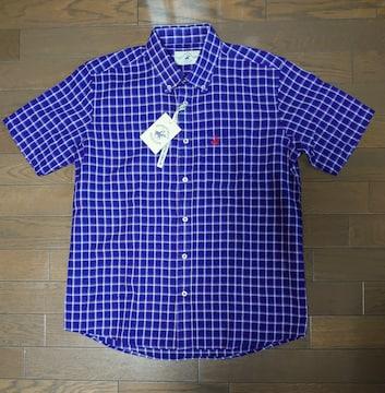 送料込!新品タグ付、メンズL寸、半袖オープンシャツ、青