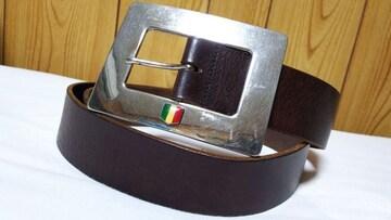 正規 ドルチェ&ガッバーナ トリコローレロゴ スクエアバックルベルト茶 85 シルバー×ブラウン
