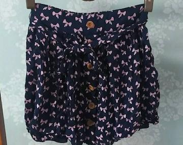 イング リボン柄 ミニスカート