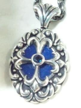 フラワー デザイン 925 シルバー ブルー ストーン ネックレス