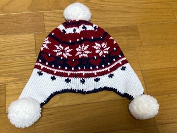 新品☆GAP☆白×赤×紺×雪結晶ポンポンニット帽