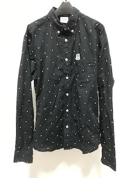 FRANKLIN&MARSHALLドット柄長袖シャツSサイズ黒白フランクリンアンドマーシャルインポート