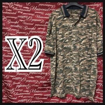 X2(4L)迷彩総柄ポロシャツ新品/MCM505-ne1