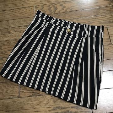 ドゥーズィエムクラス 黒ライトベージュ ストライプ柄スカート