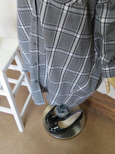 新作◆大きいサイズ3Lグレー系チェック柄◆BIGベティちゃん◆チュニック < 女性ファッションの