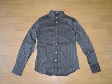 SHELLACシェラック薄手ストライプシャツ48黒長袖