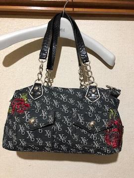 キスキス☆薔薇の刺繍 デニム 形が変えれるハンドバッグ