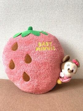 ディズニー ベビーミニーマウス いちご/イチゴ型 クッション 中古