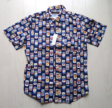 M★agate label★綿100%★缶ビール缶ジュース柄★半袖シャツ★日本製