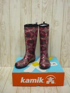 即決☆カミック TULIPE レインブーツ RED/24cm カナダ製 長靴