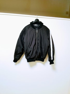 FUN◆黒×白ラインバイカラーブルゾンジャケットコート L