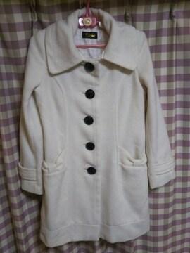●Bwlone オシャレデザイン ロングコート 襟脱着可 サイズ9AR リボン ポイント●