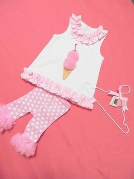 アイスチュニックレギンスドット子供服ベビーピンク白mudpie