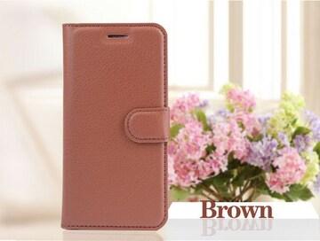 iPhone7/8Plus 手帳型収納レザーケース+フィルム 茶色