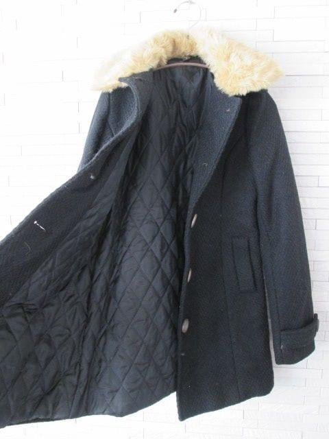 即決/首元ファーロングコート/黒×ベージュ/S/韓国製 < 女性ファッションの