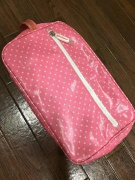キャスキッドソン ピンク水玉 ビニールコーティング シューズ鞄