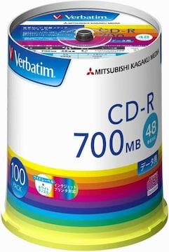 Verbatim バーベイタム 1回記録用 CD-R 700MB 100枚 ホワイトプ