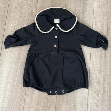 新品韓国子供服長袖baby服XS黒cotton100%出産予定の方にも