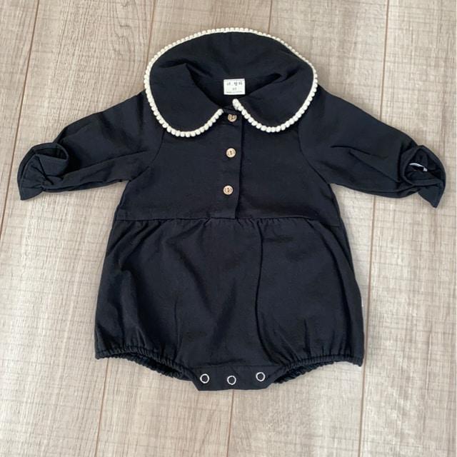 新品韓国子供服長袖baby服XS黒cotton100%出産予定の方にも  < キッズ/ベビーの