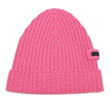 新品プラダPRADAカシミア100% リヴニット帽子 ピンク(