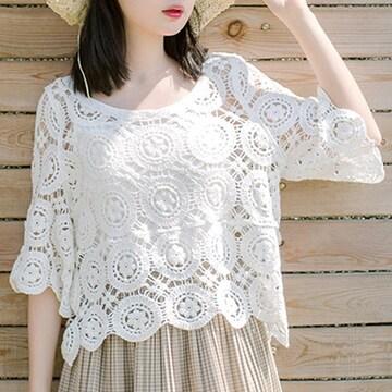 ブラウス 春夏 花柄 トップス  白 透け感 プルオーバー