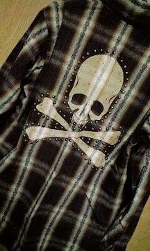 新品Roenロエン 擦れスカルスタッズチェックシャツ 42