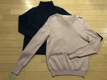 ■ユニクロ■カシミア100%Vネックセーター+フリースジャケット◎2枚セット♪