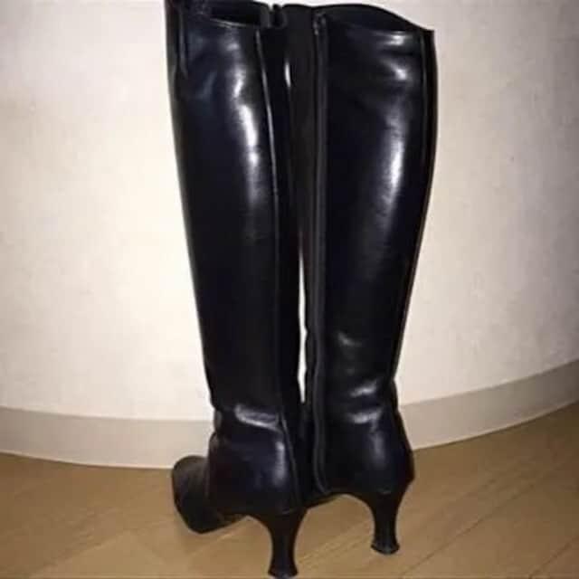 ロングブーツ ピッティ pitti feminine  黒23cm < 女性ファッションの