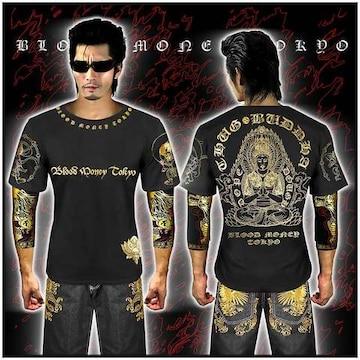 送料無料ヤクザ&悪羅悪羅系/オラオラ系大日如来半袖Tシャツ服/14002黒XL