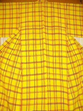 格子紋様縮緬 単の洗えるお着物