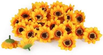 4.5CM 造花 ひまわり 花のみ 大量 手作り 飾りつけ DIY素材 壁飾