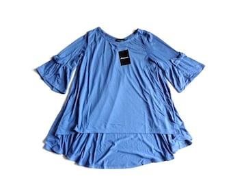 新品 francaise テールカット 袖リボン Tシャツ チュニック 青