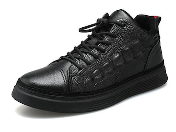 26.5 クロコ柄 スニーカー 靴 B系 HIPHOP ダンス メンズ ヤクザ オラオラ系 118 黒