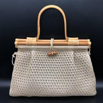 即決 かごバッグ ハンドバッグ 手編み 木製