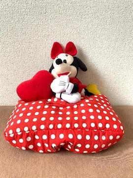 ディズニー ミニーマウス 赤×白ドット柄 ぬいぐるみ付 ティッシュカバー 中古