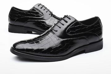 25.0 クロコ ドレスシューズ 靴 トンガリ メンズ ヤクザ オラオラ お兄系 ホスト 119 黒