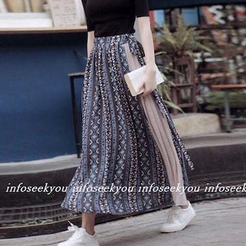 LL3L大きいサイズ/リボン~総柄プリーツ切替ロングスカート