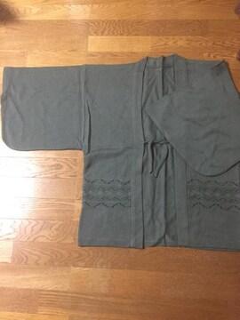 1074.着物スリーブ ニット羽織☆くすみグリーン☆サイズXL程度